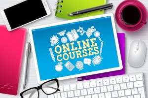 Tablet for online courses with keyboard and glasses. With online courses availiable, you can learn from anywhere. Try my perinatal mental health course. Begin today and start providing with ethical compassion