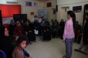 This is Sheng-Chia, our volunteer from Taiwan, leading one of the meditation workshops at Talbieh refugee camp
