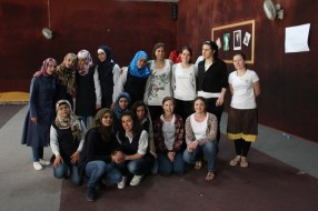 Group photo with the girls from Almansour private school