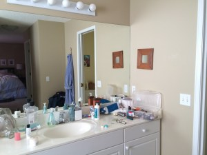 Messy bathroom counter before
