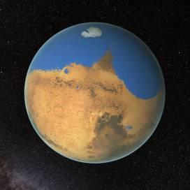 Marte hace unos 4500 millones de años, cuando poseía un gigantesco océano de agua líquida en su polo norte. Ocupaba un 19% del planeta rojo, más incluso que el océano Atlántico en proporción, aunque tenía volumen suficiente para cubrir el planeta entero con una profundidad media de 130m. (Imagen tomada de http://www.excelsior.com.mx/)