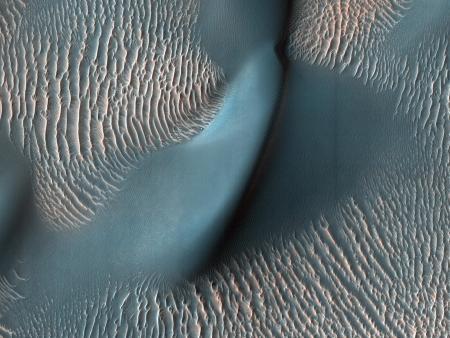 Cráter Proctor. En él se pueden observar pequeñas crestas onduladas formadas por arena fina, de menos de 200 micrómetros de diámetro, a los márgenes de la fotografía (el tamaño se intuye gracias a estudios en la Tierra y exámenes de las rovers marcianas). En las crestas observamos un color rosado debido al polvo marciano, mientras que las dunas de arena del centro de la fotografía son oscuras y azules: esto es debido a la arena basáltica, un derivado de roca volcánica. La fotografía fue tomada en febrero de 2009 por la Mars Reconnaissance Orbiter (Imagen tomada de https://www.nasa.gov/)