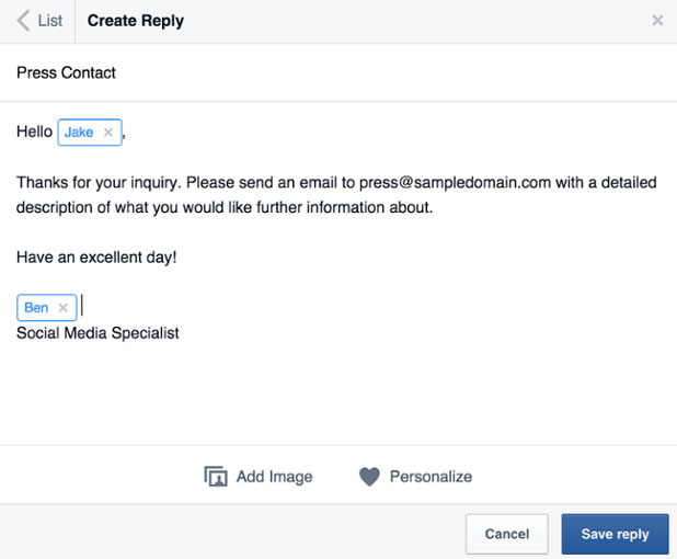 respuestas guardadas en facebook