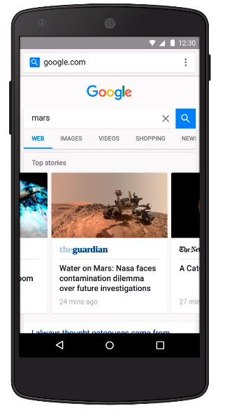 google muestra version amp