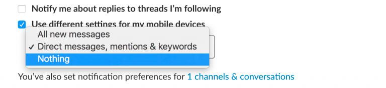 diferentes notificaciones para móvil slack