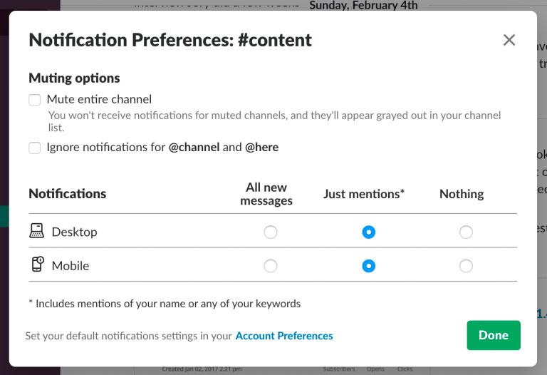 preferencias de notificación por canal slack