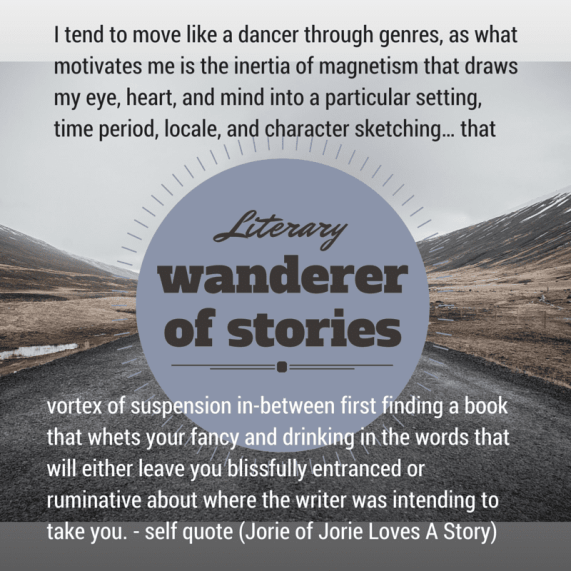 Literary Wanderer badge with self quote by Jorie made in Canva. Photo Credit: Unsplash Public Domain Photographer Kamil Lehmann