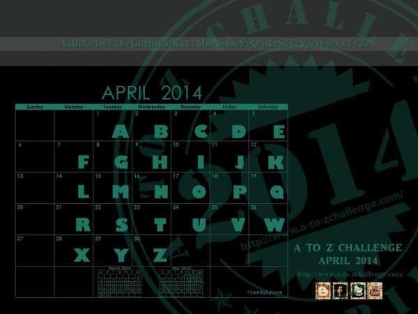 A to Z Challenge Calendar of Blog Posts