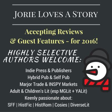 Review & Guest Features Badge for Jorie Loves A Story made by Jorie in Canva.