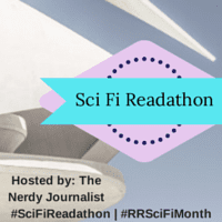 Sci Fi Readathon hosted by The Nerdy Journalist badge created by Jorie in Canva. Photo credit: Has Bonk (Public Domain Image via UnSplash)