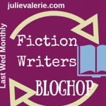 Fiction Writers Blog Hop badge created by Jorie in Canva.