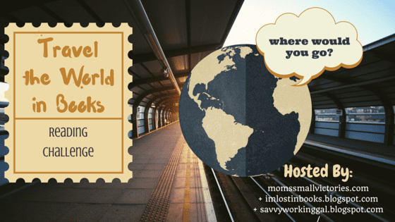 Travel the World in Books Reading Challenge badge created by Jorie in Canva.