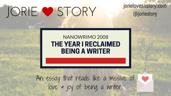 Nanowrimo 2008 Essay badge created by Jorie in Canva. Photo Credit: Unsplash Public Domain Photographer Morgan Sessions.