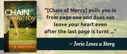 Quote from my review of Chain of Mercy feat. on Chain of Mercy banner by Brenda S. Anderson