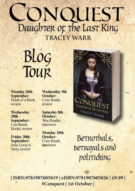 Conquest blog tour card provided by Impress Books UK.