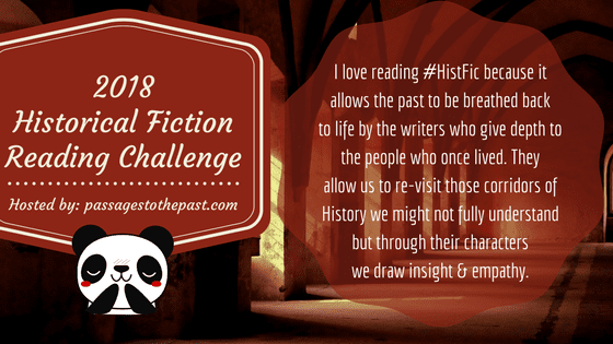 2018 Historical Fiction Reading Challenge badge created by Jorie in Canva.