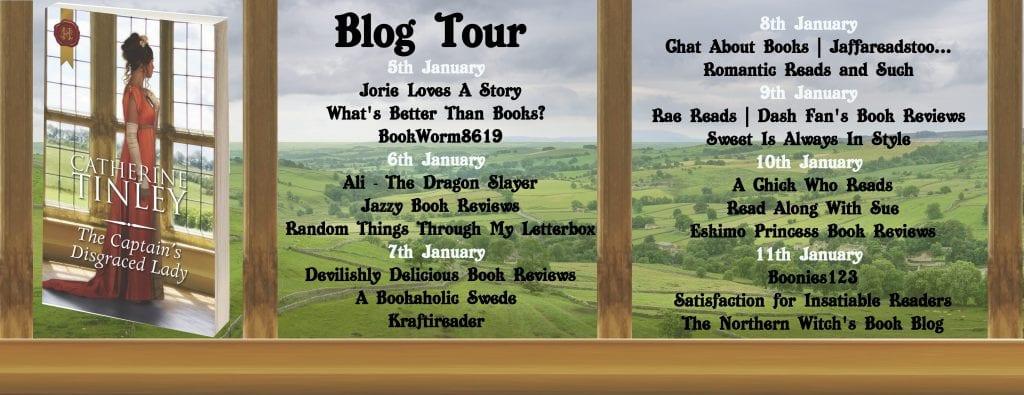 The Captain's Disgraced Lady blog tour via Rachel's Random Resources banner.