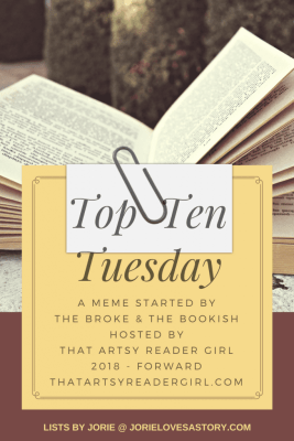 Top Ten Tuesday blog banner created by Jorie in Canva.