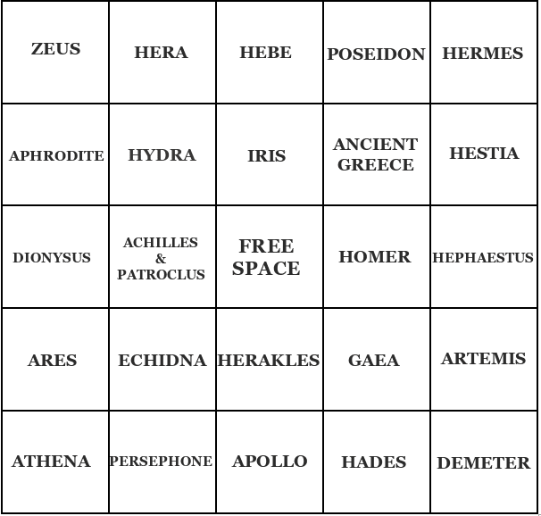 #Mythothon Bingo Card created by Louise @FoxesFairyTale and used with permission.