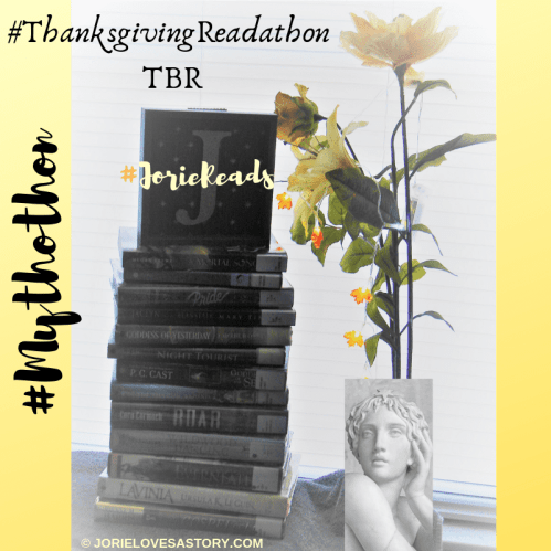 #ThanksgivingReadathon TBR List badge created by Jorie in Canva. Photo Credit jorielovesastory.com