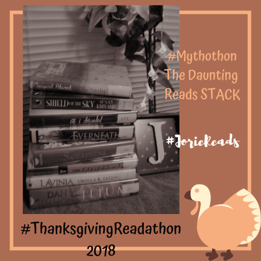 #ThanksgivingReadathon Daunting Reads Stack badge created by Jorie in Canva. Photo Credit jorielovesastory.com