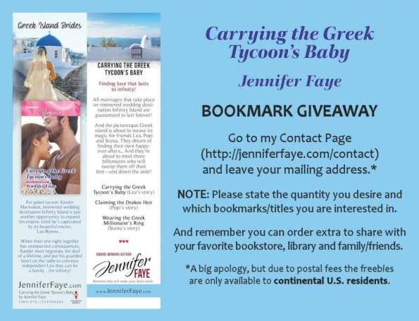 Bookmark offer from Jennifer Faye.