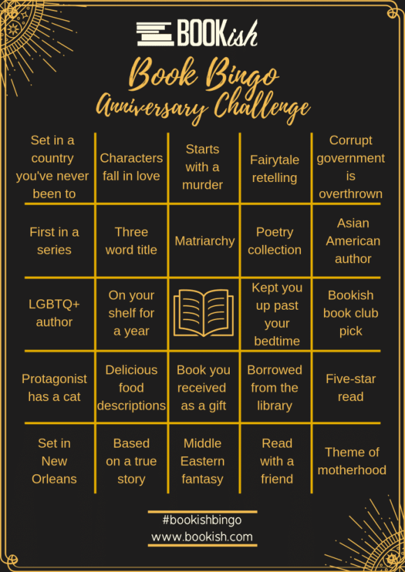 Bookish.com Anniversary Bingo Card; being used with permission.