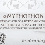 #Mythothon Year 2 banner created by Jorie in Canva.