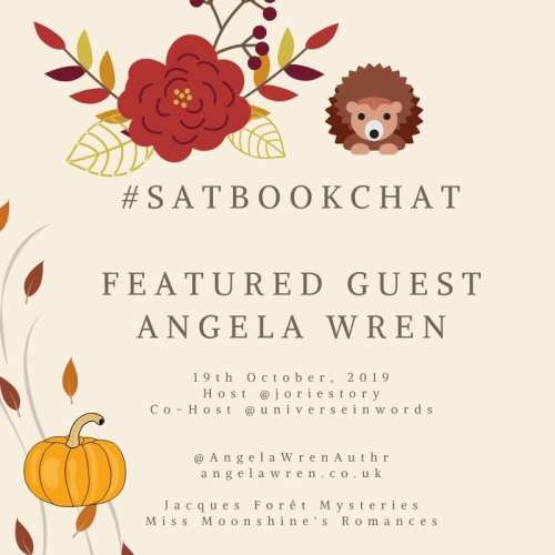 #SatBookChat featured guest Angela Wren badge created by Jorie in Canva.