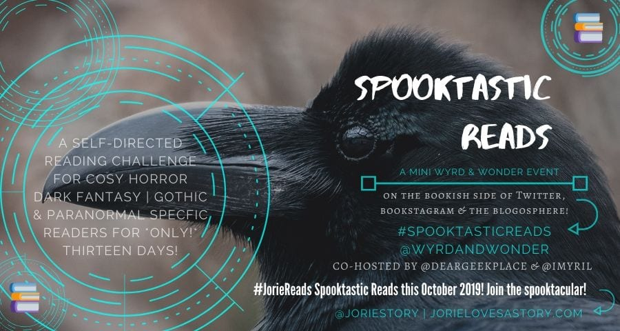 #SpooktasticReads2019 banner created by Jorie in Canva.