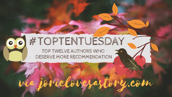 #TopTenTuesday banner created by Jorie in Canva.