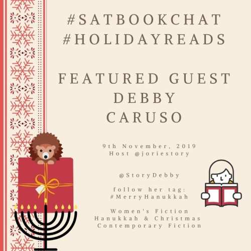 #SatBookChat Debby Caruso badge made my Jorie in Canva.