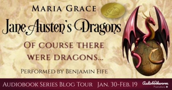Jane Austen's Dragons audiobook blog tour banner provided by Audiobookworm Promotions.
