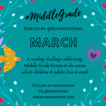 #MiddleGradeMarch badge created by Jorie in Canva.