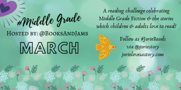 #MiddleGradeMarch banner created by Jorie in Canva.