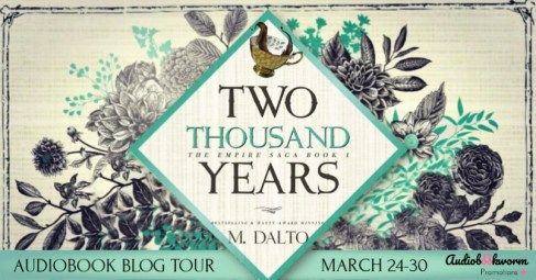 Two Thousand Years blog tour banner provided by Audiobookworm Promotions and is used with permission.