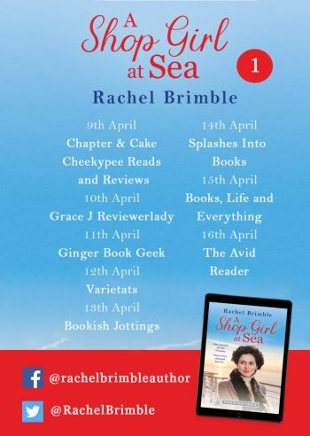 A Shop Girl at Sea blog tour poster provided by Head of Zeus and is used with permission.