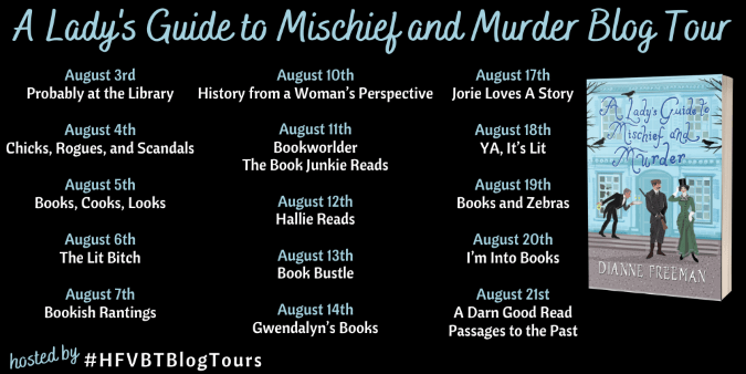 A Lady's Guide to Mischief and Murder blog tour banner provided by HFVBT and is used with permission.