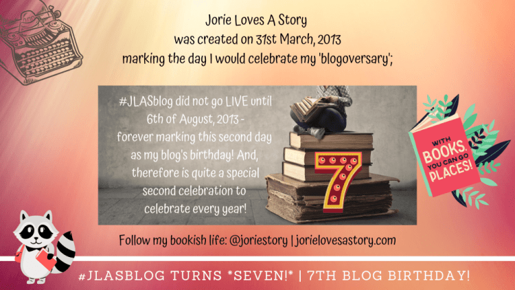 #JLASblog Turns Seven banner created by Jorie in Canva.