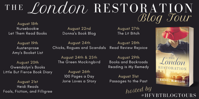 The London Restoration blog tour banner provided by HFVBTs and is used with permission.