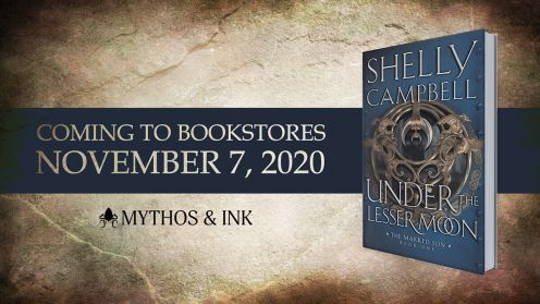 Under the Lesser Moon announcement banner provided by Mythos and Ink Publishing and is being used with permission.