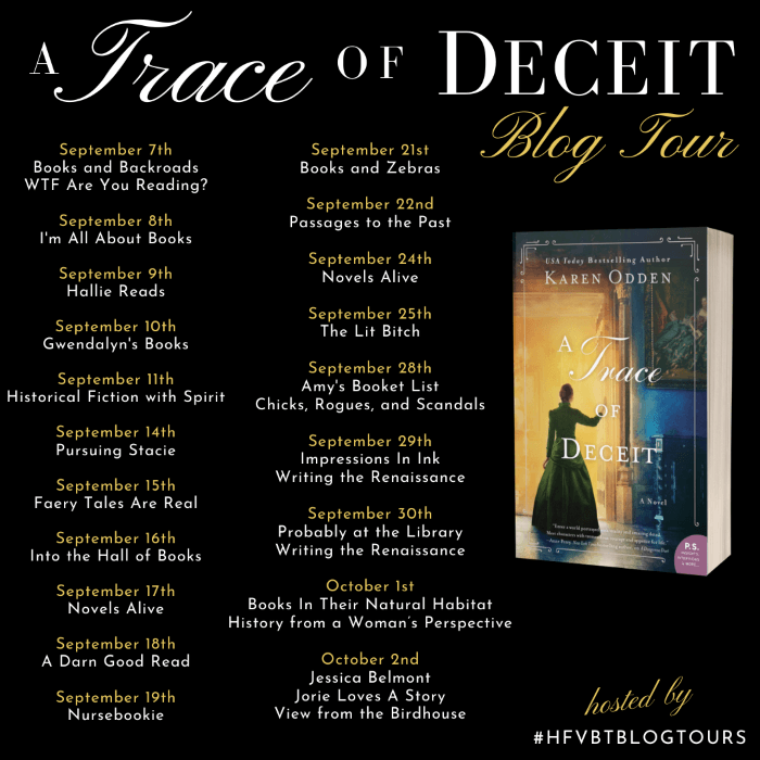 A Trace of Deceit blog tour banner provided by HFVBTs and is used with permission.