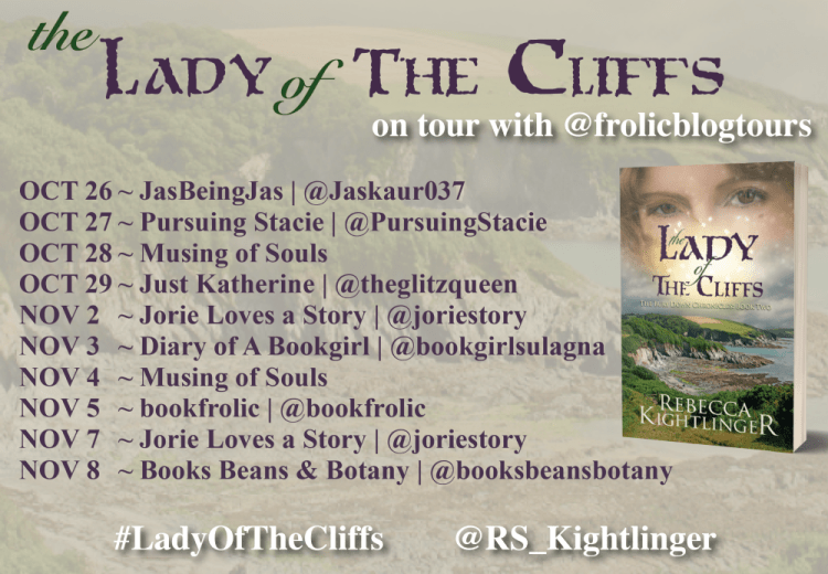 The Lady of the Cliffs blog tour banner provided by Frolic Blog Tours and is used with permission.