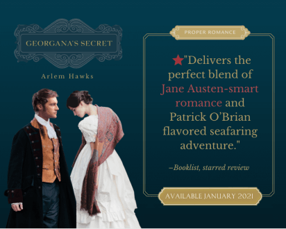 """Promotional graphic for """"Georgana's Secret"""" by Arlem Hawks provided by Austenprose and is used with permission."""