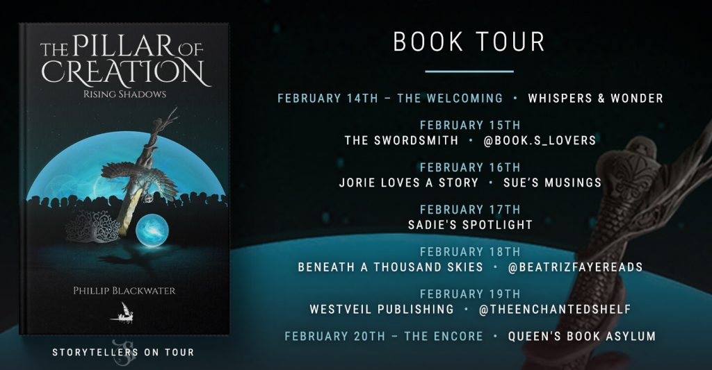 Rising Shadows blog tour banner provided by Storytellers on Tour and is used with permission.
