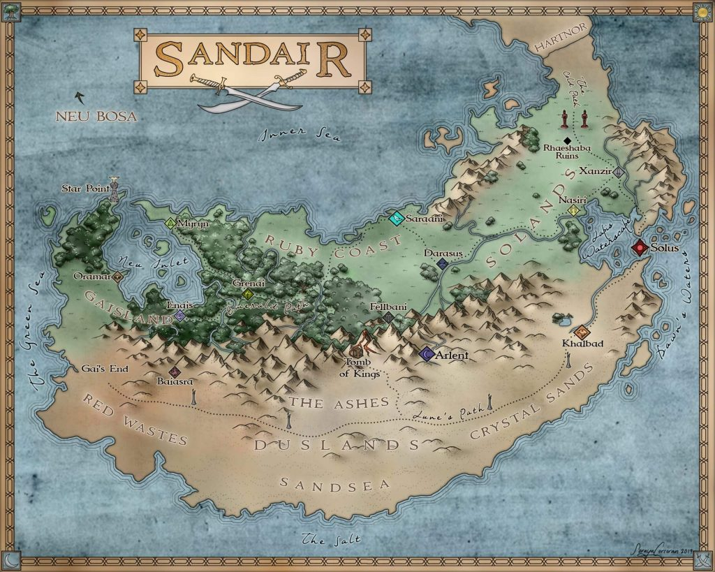 Sand Dancer world map provided by Storytellers on Tour and is used with permission.