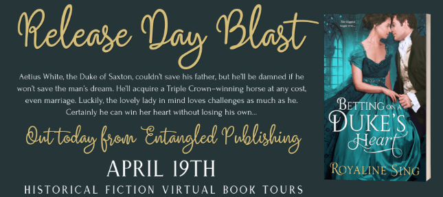 Betting on A Duke's Heart blog tour banner provided by HFVBTs and is used with permission.