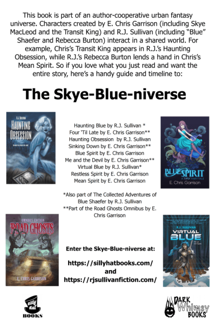 Skye-Blue-universe info graphic about the collective works inter-related to each other by E. Chris Garrison and R.J. Sullivan. Graphic provided by the authors and is used with permisison.