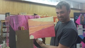 Stuart Peregoy paints warm underpainting in adult art class