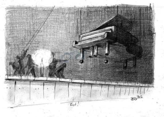 Bühnenbild Konzert Vorbereitung (Bleistift)